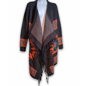 ROOTS Canada Wool Aztec Print Boho Fringe Cardigan